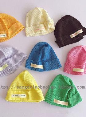 韩风个性糖果色儿童瓜皮帽子洋气男女宝宝小布标针织帽毛线帽潮帽