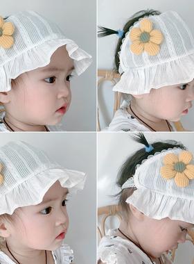 婴儿囟门帽子夏季薄款女宝宝护囟门护头囟帽卤门女婴新生胎帽夏天