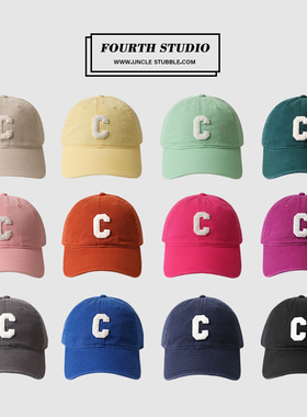 胡茬叔叔帽子好版型男女同款韩版C字百搭软顶棒球帽情侣鸭舌帽潮