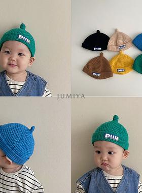韩国潮娃奶嘴帽~2021新款婴儿毛线帽冬季针织百搭男童秋宝宝帽子