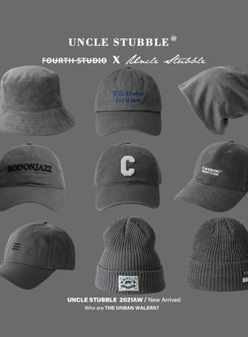 胡茬叔叔新品帽子原创灰色软顶棒球帽鸭舌帽男韩版百搭针织帽女生