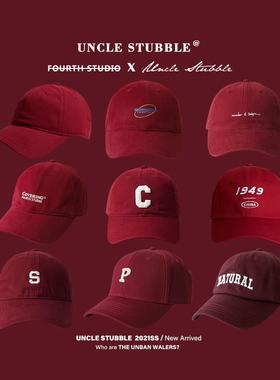 胡茬叔叔红色帽子酒红色棒球帽大红色软顶鸭舌帽男本命年针织帽女