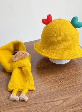 女宝宝帽子秋冬季针织渔夫帽婴儿幼儿可爱超萌围脖两件套男儿童春