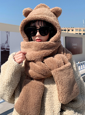 小熊网红耳朵帽子2021新款女百搭可爱毛绒冬天围巾连帽一体秋冬季