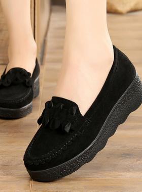 春秋款老北京布鞋豆豆女鞋松糕厚底坡跟中跟浅口黑色女工作单鞋41