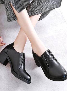 黑色系带小皮鞋女中跟工作鞋粗跟高跟圆头单鞋职业正装女鞋春秋季