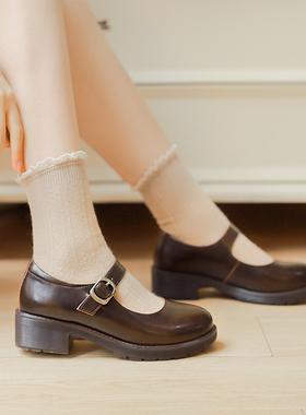 粗跟玛丽珍鞋女鞋复古小皮鞋女秋季薄款制服鞋圆头单鞋日系jk鞋子