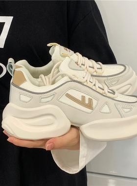 回力奶油女鞋国潮老爹鞋女2021秋季新款百搭休闲鞋厚底增高运动鞋