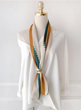 2021春夏新款 韩国长条形围巾百搭绸缎小碎花丝巾女雪纺领巾潮流