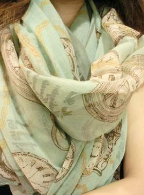 围巾女春秋冬季韩国版棉麻长款小丝巾披肩两用保暖纱巾薄百搭印花