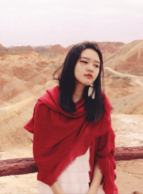 沙漠围巾女海边防晒披肩民族风超大棉麻纯色丝巾夏季薄款红纱巾