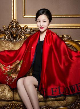 真丝丝巾女大红婚宴百搭桑蚕丝围巾薄秋款时尚洋气披肩长款纱巾冬