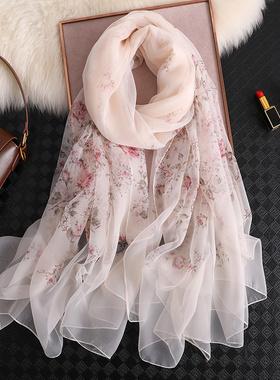 杭州丝绸真丝丝巾女百搭秋款洋气时尚长款纱巾春秋冬季桑蚕丝围巾