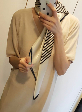 简约气质~ 光泽柔软顺滑丝巾大方巾90cm条纹方巾披肩春秋新款围巾