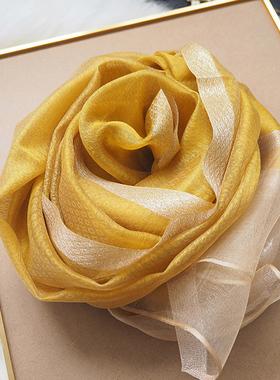 杭州围巾女士薄款披肩丝巾长款春秋妈妈款百搭纱巾真丝桑蚕丝羊毛