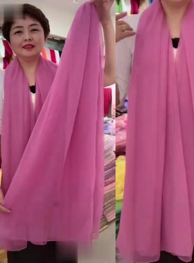 丝巾女秋冬季时尚洋气鳄鱼皱围巾春夏超大百搭防晒披肩长款纱巾薄
