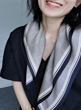 Forlin 芙临 黑色细格  推荐款 桑蚕丝中方巾丝巾围巾 CREB10331