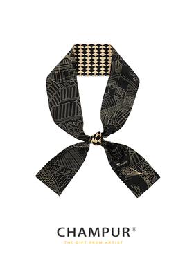 川朴CHAMPUR 丝巾桑蚕丝双面加宽发带真丝领巾/菱形丝巾