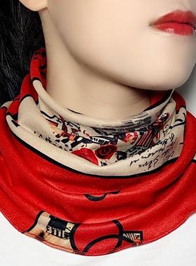 秋冬加厚保暖围脖女新款围巾护颈套头加绒脖套小丝巾韩版时尚假领