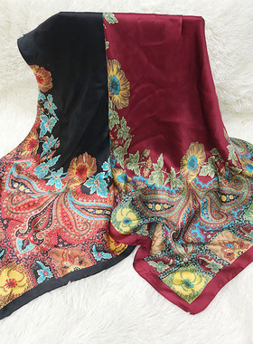 凡写真丝缎围巾女四季可用实用百搭缎面大方巾桑蚕丝丝巾秋款