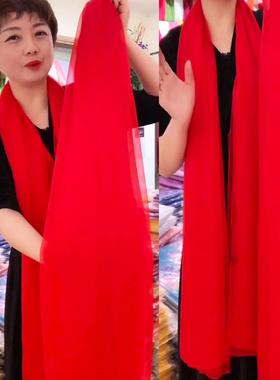 丝巾女秋冬款超大纯色百搭鳄鱼皱纱巾时尚长款围巾中年妈妈款披肩