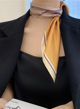 温柔且气场 // 简约条纹小方巾百搭装饰领巾发带绑包包仿真丝丝巾