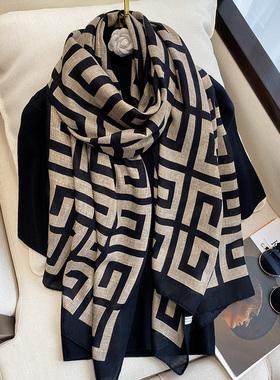 棉麻围巾披肩外搭丝巾女秋冬款洋气时尚韩版百搭围脖两用流苏针织