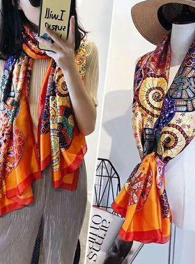 杭州丝绸丝巾女百搭春秋冬季秋款洋气时尚妈妈围巾长款披肩大纱巾