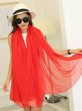 围巾女纱巾丝巾百搭长款春秋薄款大红色披肩围脖沙巾开车头发遮阳
