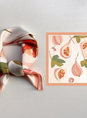 韩国chic新款小丝巾卡通油画方巾春秋百搭装饰小头巾减龄发带领巾