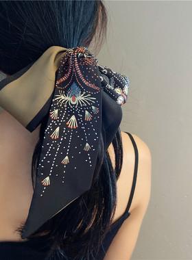 黑色烟花丝巾发带女多功能绑发森系超仙头饰法式复古飘带百搭丝带