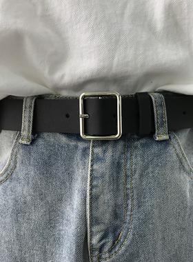 韩版新款皮带chic复古风长方形银色扣头女腰带学生宽裤带牛仔裤