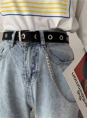 朋克风全孔装饰腰带时尚百搭韩版潮流皮带女免打孔裤腰带链条ins