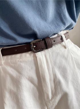 女士皮带简约百搭时尚韩国细腰带装饰西裤牛仔裤带女柔软小皮带潮