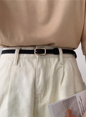 韩国复古小皮带女黑色简约百搭裤带装饰配裙子西装牛仔裤腰带细款