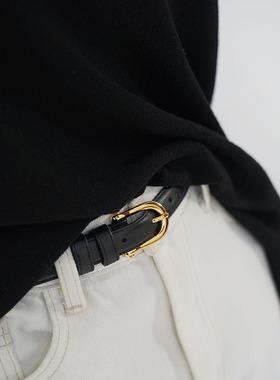 PANLULUPAN小众设计复古质感马鞍扣造型头层牛皮皮带腰带腰封文艺