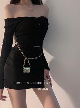 珍珠链条装饰腰包女夏腰带链条配饰腰链包皮带ins风潮流时尚个性