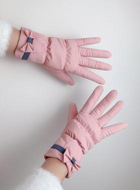 手套冬天女加绒加厚保暖防寒可爱女生防风防水触屏韩版骑车手套女