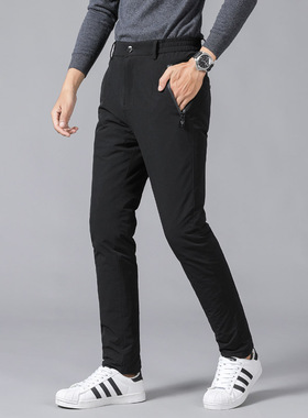 新青年男士羽绒裤男外穿高腰加厚时尚保暖运动鸭绒冬季户外长裤潮