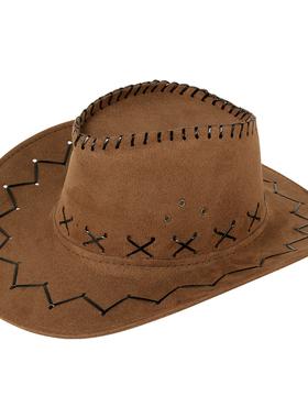 西部牛仔帽户外旅游休闲男士遮阳帽仿麂皮绒夏季防晒清凉骑士帽子