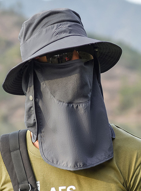 防晒帽子男士钓鱼帽夏季渔夫帽户外登山太阳帽遮脸防紫外线遮阳帽