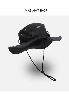 日系潮牌抽绳渔夫帽子男女夏季透气防晒户外登山钓鱼帽西部牛仔帽