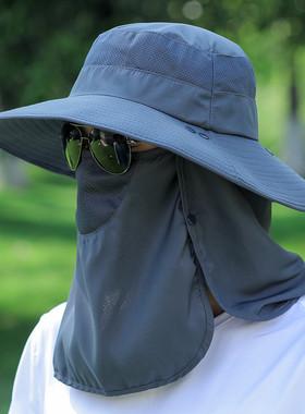 大檐遮阳帽男潮流夏季防晒户外透气钓鱼凉帽渔夫帽女遮脸太阳帽子