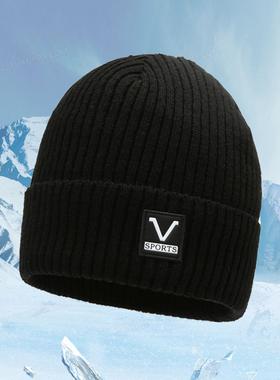 针织帽子男冬天保暖毛线帽女秋冬加厚加绒护耳帽户外防风滑雪冷帽