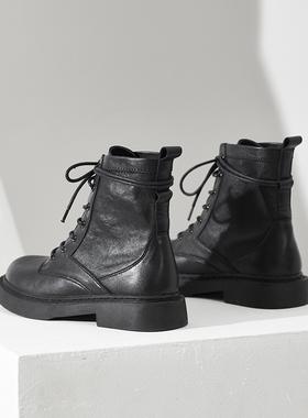 内增高真皮马丁靴女英伦风2021年秋冬新款平底短靴子女春秋单靴潮