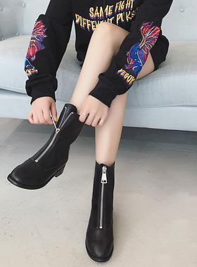 前拉链短靴女春秋单靴网红英伦风2021新款马丁靴瘦瘦中筒爆款靴子