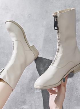 鬼帝女靴中筒瘦瘦靴子guidi前拉链短靴内增高白色马丁靴春秋单靴