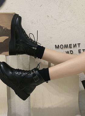 马丁靴女潮ins酷2021年新款春秋单靴冬季加绒短靴靴子英伦风鞋子