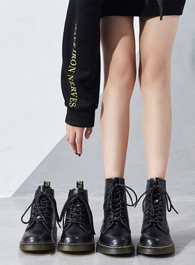 马丁靴女春秋单靴2021新款内增高短靴爆款厚底冬季加绒靴子英伦风