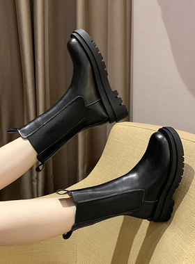 黑色马丁靴女春秋单靴2021新款英伦风中筒切尔西烟筒厚底短靴子冬
